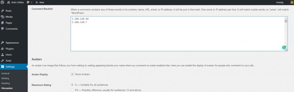 WordPress Settings Comments Blacklist