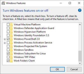 Enable Windows Subsystem For Linux Via  Windows Control Panel