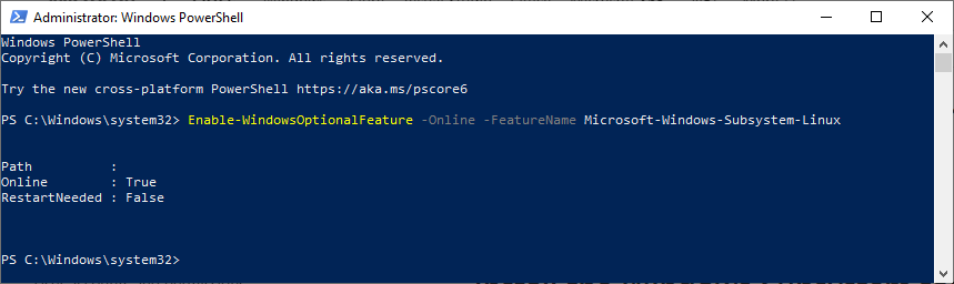 Enable Windows Subsystem For Linux Via  Windows Power Shell