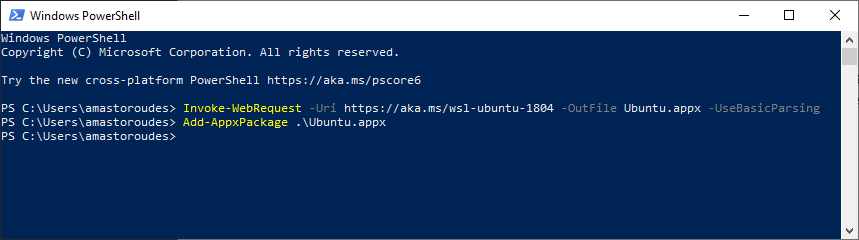 PowerShell Invoke WebRequest and Add AppxPackage to Enable Windows Subsystem for Linux