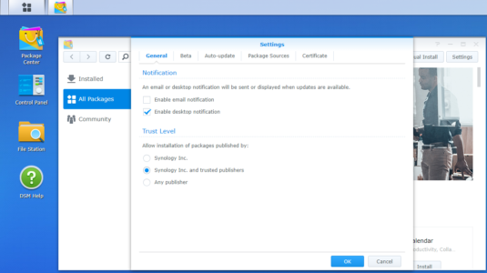 Synology NAS, Package Center, Settings, Trust Level
