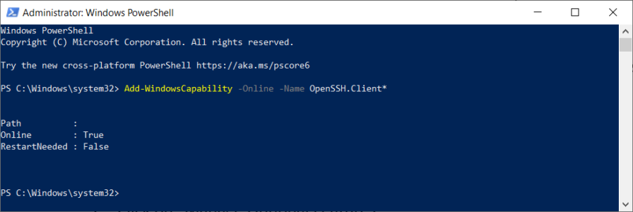 PowerShell Add Windows Capability OpenSSH